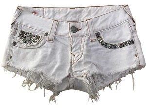 True Religion Cut Off Shorts white