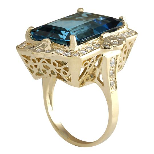 Fashion Strada 19.53 Carat Natural Topaz 14K Yellow Gold Diamond Ring Image 2