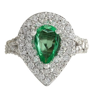 Fashion Strada 2.36CTW Natural Emerald And Diamond Ring 14K Solid White Gold