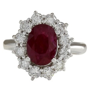 Fashion Strada 3.38CTW Natural Ruby And Diamond Ring 14K Solid White Gold