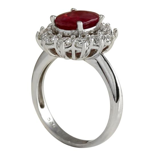Fashion Strada 3.38 Carat Natural Ruby 14K White Gold Diamond Ring Image 2
