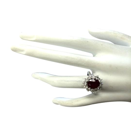 Fashion Strada 3.38 Carat Natural Ruby 14K White Gold Diamond Ring Image 3