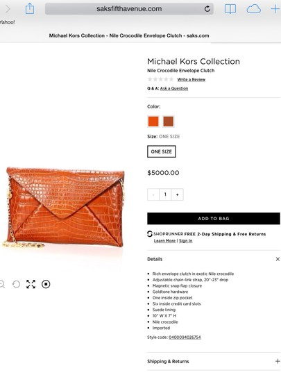 Michael Kors Alligator Crocodile Crossbody Clutch Skin Shoulder Bag Image 4