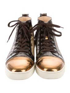 Christian Louboutin Patent Leather Leopard Limited Edition Gold Leopard Gold Flats