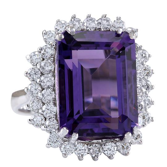 Fashion Strada 15.12 Carat Natural Amethyst 14K White Gold Diamond Ring Image 1