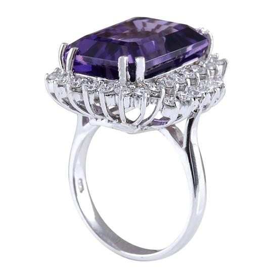 Fashion Strada 15.12 Carat Natural Amethyst 14K White Gold Diamond Ring Image 2