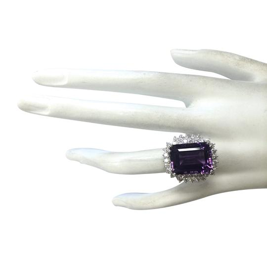 Fashion Strada 15.12 Carat Natural Amethyst 14K White Gold Diamond Ring Image 3