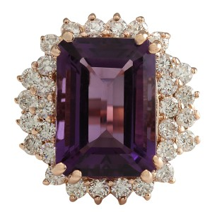 Fashion Strada 8.37CTW Natural Amethyst And Diamond Ring In 14K Solid Rose Gold