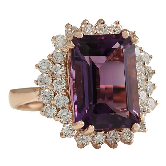 Fashion Strada 8.37CTW Natural Amethyst And Diamond Ring In 14K Solid Rose Gold Image 1