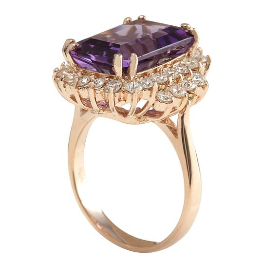 Fashion Strada 8.37CTW Natural Amethyst And Diamond Ring In 14K Solid Rose Gold Image 2