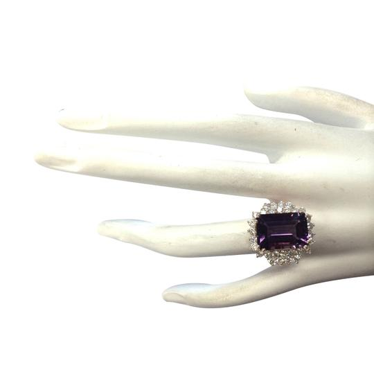 Fashion Strada 8.37CTW Natural Amethyst And Diamond Ring In 14K Solid Rose Gold Image 3