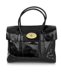 Mulberry Patent Leather Handle Tote in black