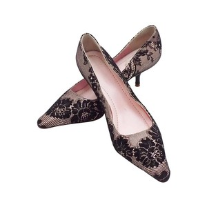 Valentino Lace Silk. Evening Black/ pink Pumps
