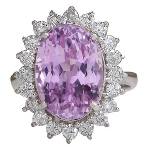 Fashion Strada 11.03 Carat Natural Kunzite 14K White Gold Diamond Ring