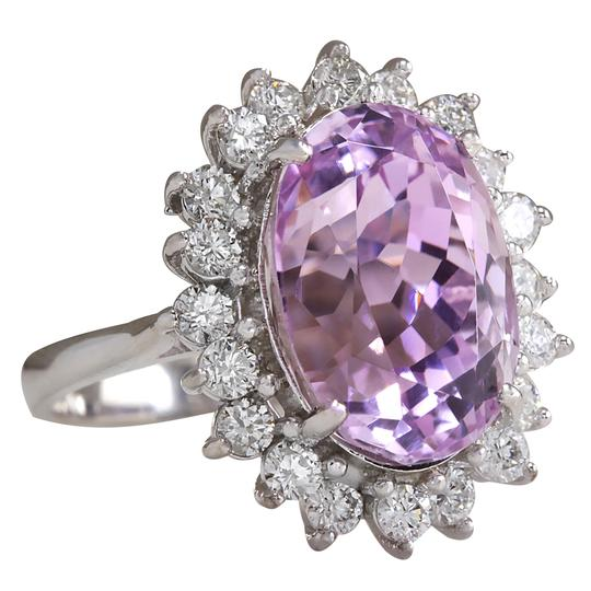 Fashion Strada 11.03 Carat Natural Kunzite 14K White Gold Diamond Ring Image 1