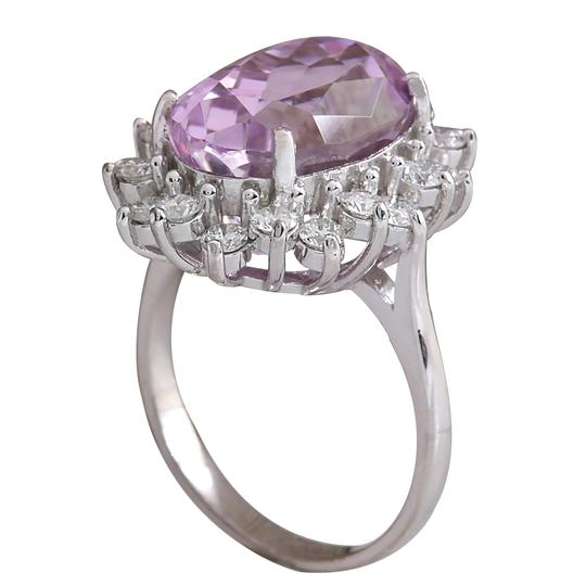 Fashion Strada 11.03 Carat Natural Kunzite 14K White Gold Diamond Ring Image 2