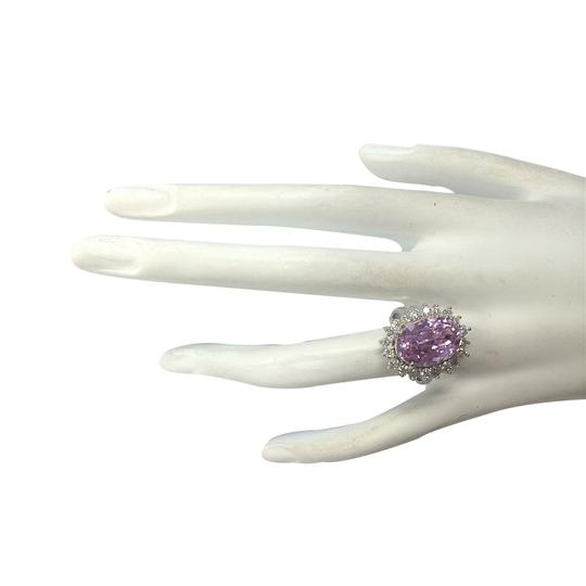 Fashion Strada 11.03 Carat Natural Kunzite 14K White Gold Diamond Ring Image 3