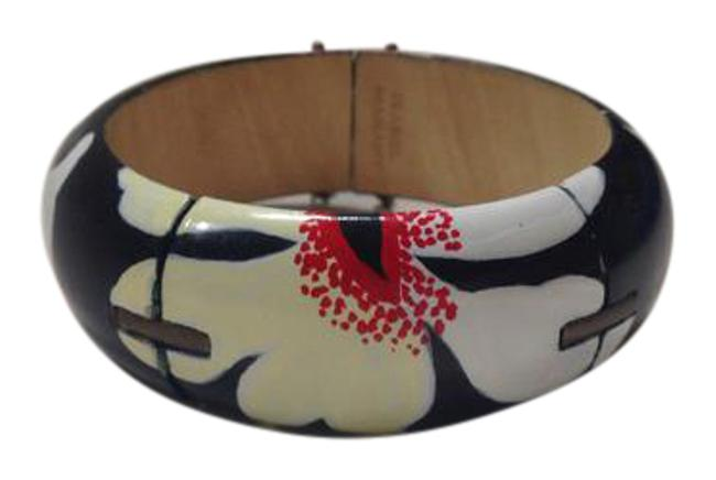 Item - Black Background. with White Pale Yellow and Red Flower Pattern Wood Bracelet
