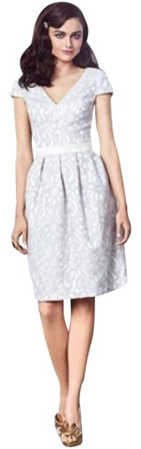 Item - Ivory / Gray 2902 Mid-length Night Out Dress Size 16 (XL, Plus 0x)