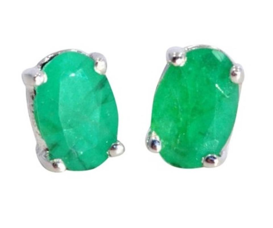 Other 1 Carat Genuine Emerald Oval Stud Earrings 925 Sterling Silver