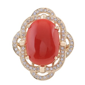 Fashion Strada 7.92CTW Natural Coral And Diamond Ring In 14K Yellow Gold