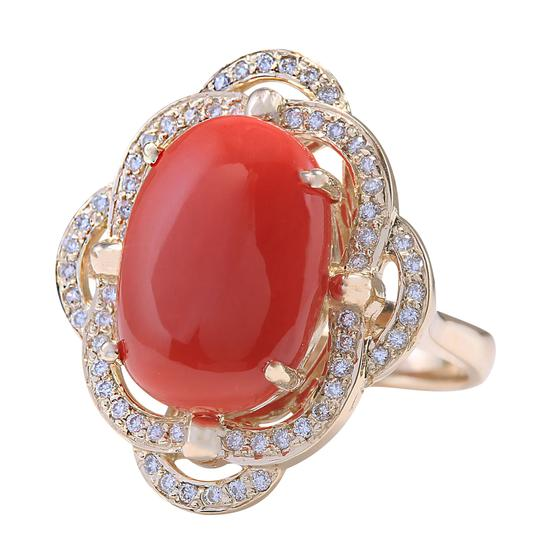 Fashion Strada 7.92CTW Natural Coral And Diamond Ring In 14K Yellow Gold Image 1