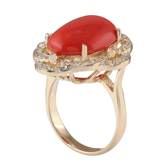 Fashion Strada 7.92CTW Natural Coral And Diamond Ring In 14K Yellow Gold Image 2