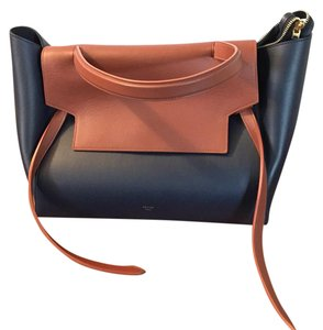 Céline Satchel in Midnight Navy/Cognac