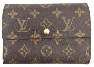 Louis Vuitton #11481 *Clearance* Monogram wide Flap Trifold Wallet Pocket Card