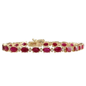 Fashion Strada 12.95CTW Natural Red Ruby And Diamond Bracelet In 14K Yellow Gold