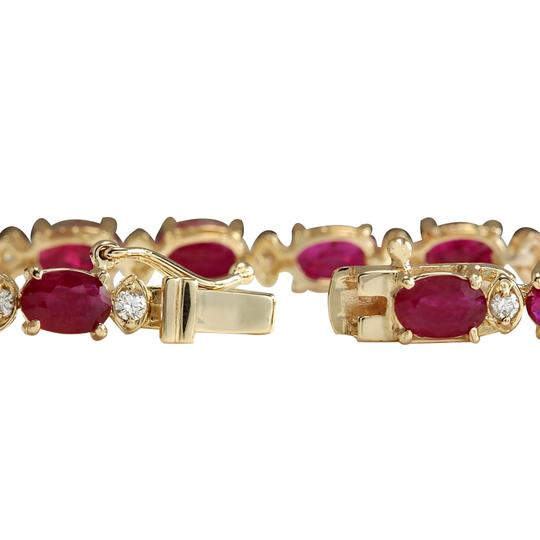 Fashion Strada 12.95CTW Natural Red Ruby And Diamond Bracelet In 14K Yellow Gold Image 1
