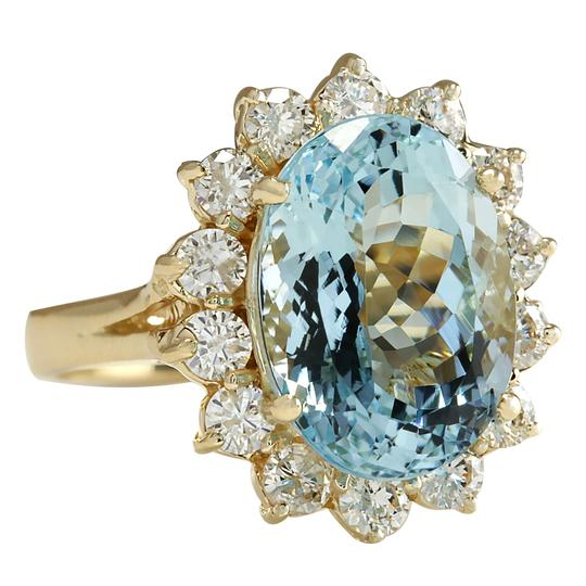 Fashion Strada 7.24 Carat Natural Aquamarine 14K Yellow Gold Diamond Ring Image 1