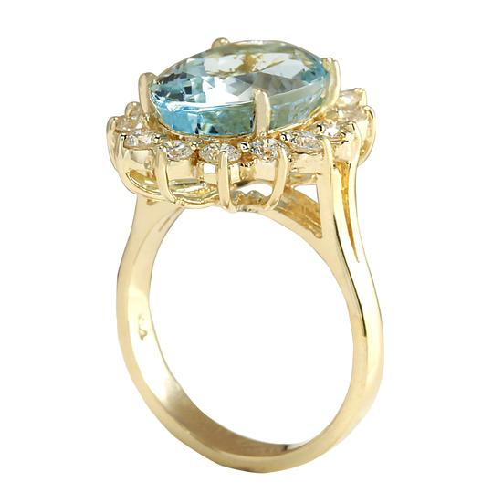 Fashion Strada 7.24 Carat Natural Aquamarine 14K Yellow Gold Diamond Ring Image 2