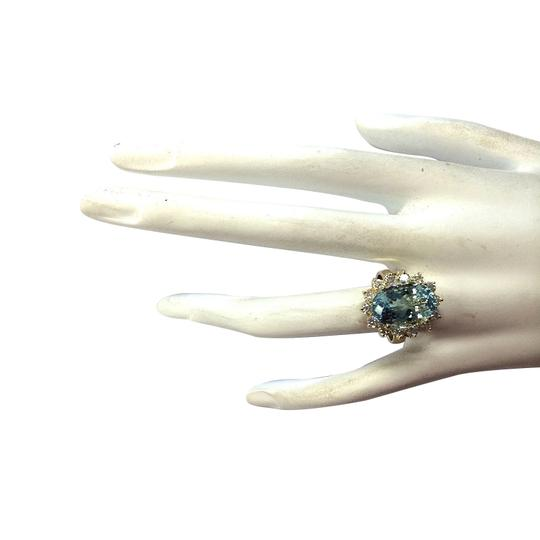 Fashion Strada 7.24 Carat Natural Aquamarine 14K Yellow Gold Diamond Ring Image 3