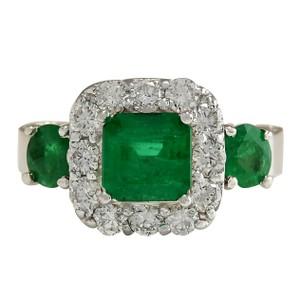Fashion Strada 3.24CTW Natural Emerald And Diamond Ring 14K Solid White Gold