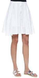 Theory Ramie Cotton Summer Pleated Skirt White