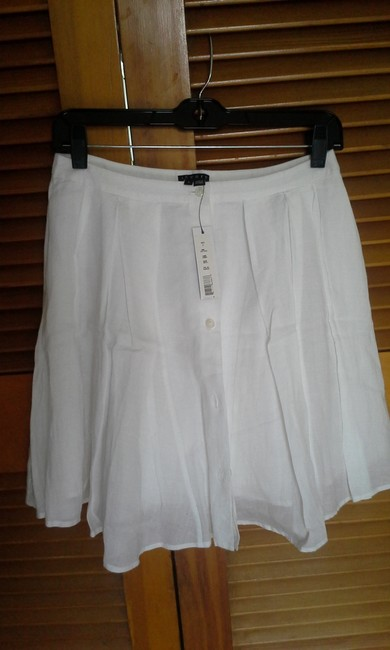 Theory Ramie Cotton Summer Pleated Skirt White Image 1