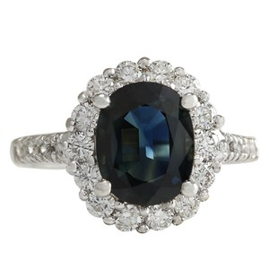 Fashion Strada 3.68CTW Natural Blue Sapphire Diamond Ring 14K Solid White Gold