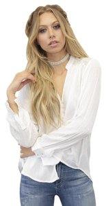 Free People Button Down Shirt Ivory