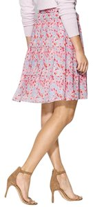 Joie Pleated Silk Floral Print Skirt Coral