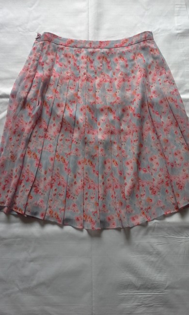 Joie Pleated Silk Floral Print Skirt Coral Image 1