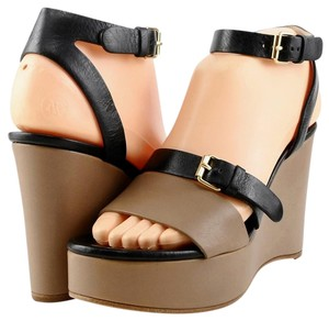 Chloé Chloe Sandals Platform Soft Leather Taupe Black Wedges