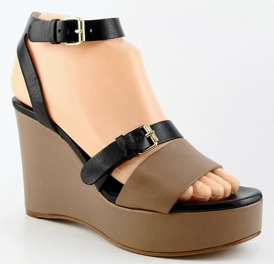 Chloé Sandals Platform Soft Leather Taupe Black Wedges Image 1