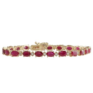 Fashion Strada 13.35CTW Natural Red Ruby And Diamond Bracelet In 14K Yellow Gold