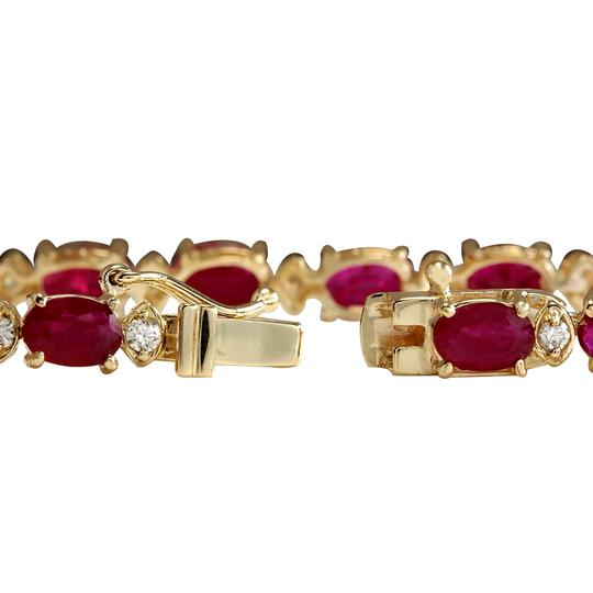 Fashion Strada 13.35CTW Natural Red Ruby And Diamond Bracelet In 14K Yellow Gold Image 1