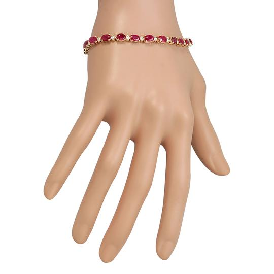 Fashion Strada 13.35CTW Natural Red Ruby And Diamond Bracelet In 14K Yellow Gold Image 2