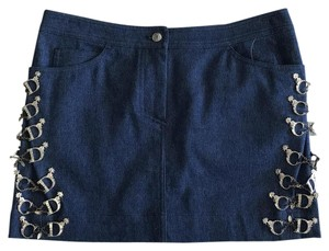 Dior Denim Western Coachella Silver Festival Mini Skirt blue