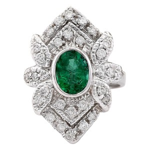 Fashion Strada 2.50 CTW Natural Emerald And Diamond Ring In 14k White Gold