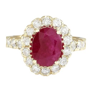 Fashion Strada 3.33 CTW Natural Ruby And Diamond Ring In 14k Yellow Gold