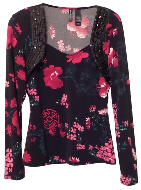 Bisou Bisou Like New Asian Knit Medium Long Top Black, Red, Green, Pink + Image 0